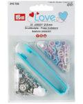 Pack de 21 botones de presión y la herramienta para ponerlos, en colores azul, perla y rojo