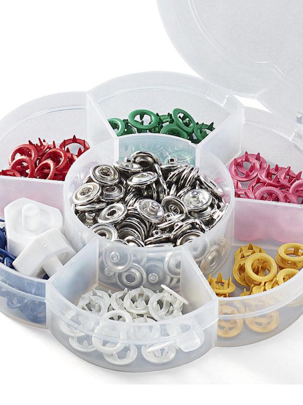 Caja de 60 botones de presión (remaches o fasteners) de Prym Love