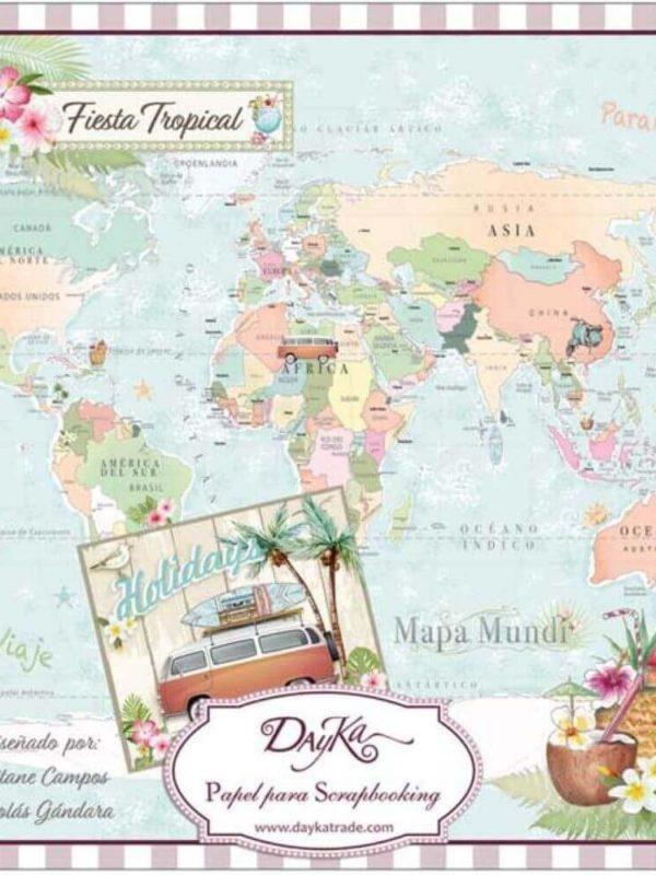 Stack de papeles scrapbooking Fiesta Tropical especial verano con caravanas, mapamundis y bicicletas