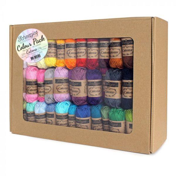 Pack de 109 ovillos de algodón de 10 gramos Colour Pack Catona de Scheepjes