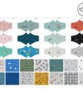 Panel para la confección de 13 mascarillas de tela hidrófuga antibacteriana reutilizables y lavables