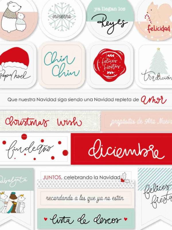 Clipboard adhesivo con imagenes y frases de navidad, de la colección Christmas Wish de Gigi et Moi