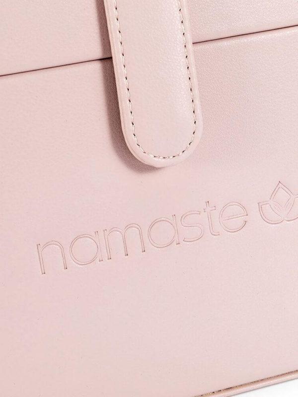 Maletín de costura Namaste Train de cuero vegano Rosa detalle