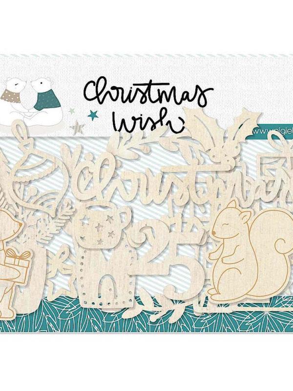 Set de figuras y frases de madera cortada con laser de la colección Christmas Wish de Gigi et Moi