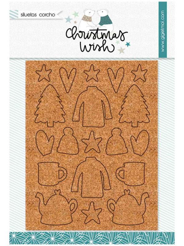 siluetas en corcho para scrap, de la colección Christmas Wish de Gigi et Moi