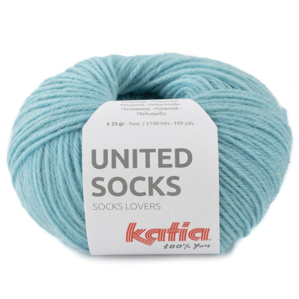Lana para tejer calcetines United Stocks color Azul agua de Katia