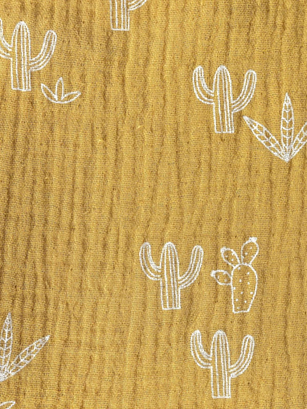 Tela de muselina algodon con motivos de cactus, de Katia
