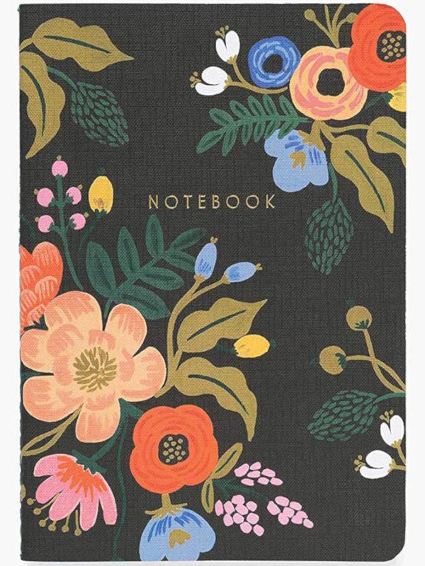 3 cuadernos con bordados florarl de 64 páginas con tinta dorada, de Rifle Paper, color negro