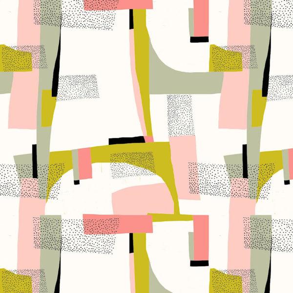 Canvas con estampado abstracto en tonos rosas sobre fondo crema y pequeños trazos dorados