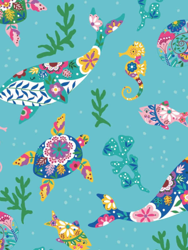 Estampado marino tropical en colores vivos y alegres