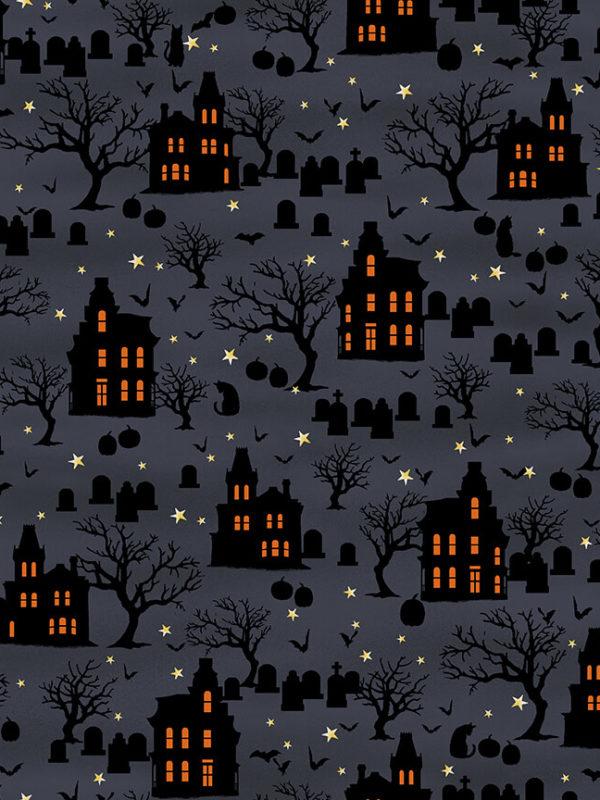 Tela de algodón Spooky Nights de Studio E casas encantadas en el cementerio con tumbas