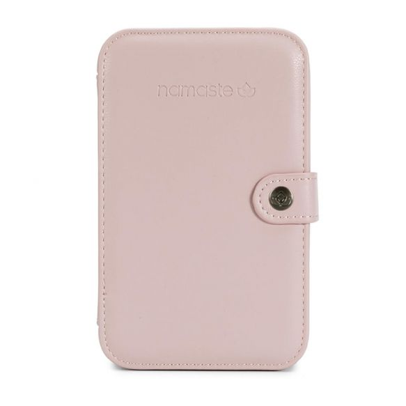 Estuche de costura y ganchillo en cuero vegano color rosa blush de Namasté