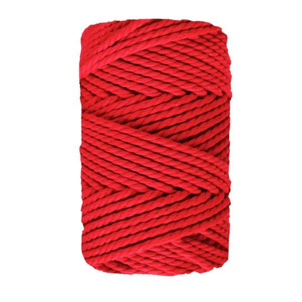 Cono de cuerda de macramé de 3 hilos de algodón y pet, de Casasol en color rojo